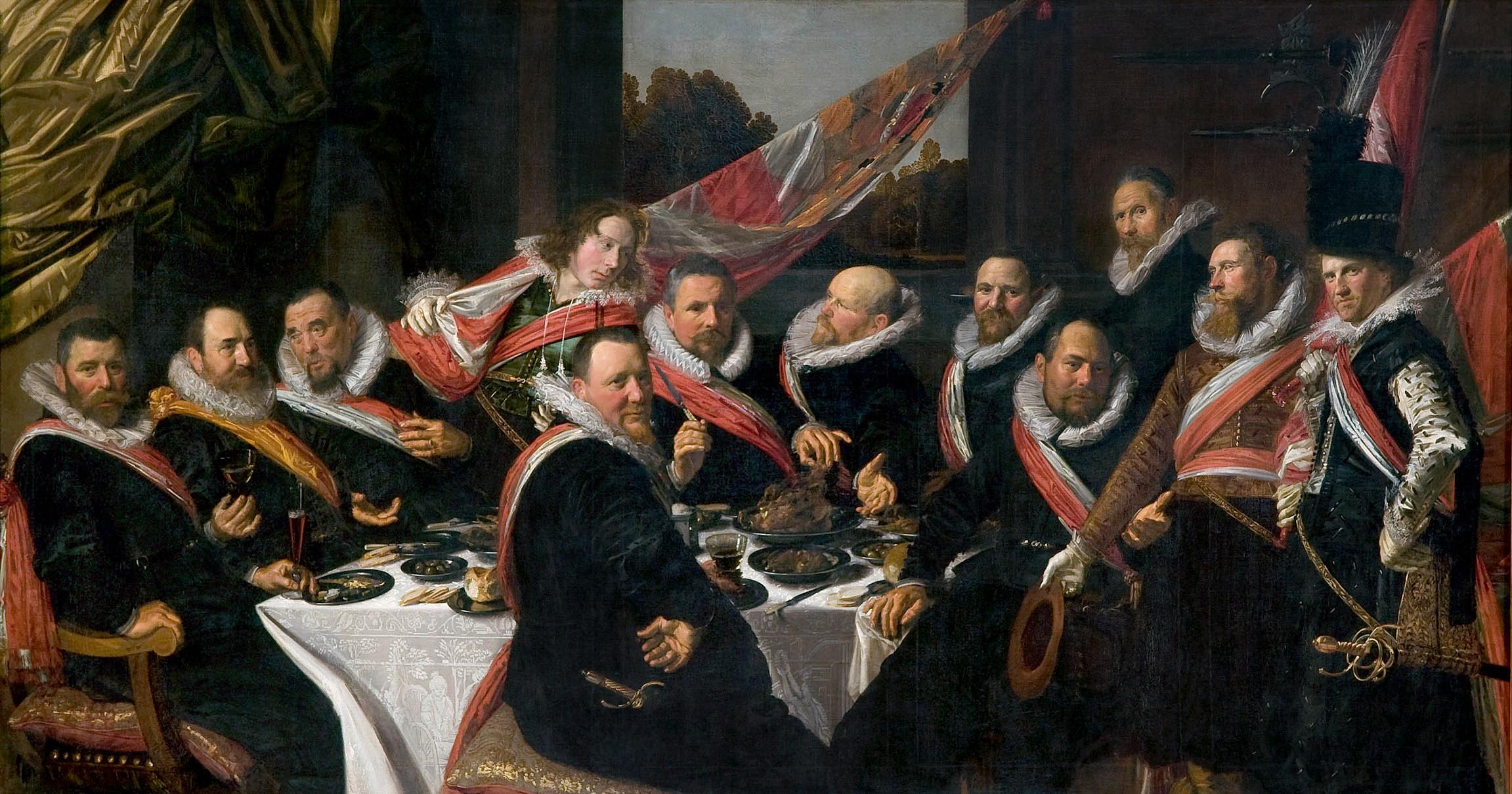 世界のタグ名画 - ハールレムの聖ゲオルギウス市民隊幹部の宴会 (1616 ...